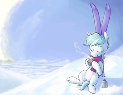 Size: 2200x1700 | Tagged: safe, artist:yeendip, double diamond, earth pony, pony, the cutie map, cute, double dawwmond, eyes closed, featured image, featureless crotch, hoof hold, hot chocolate, male, skis, snow, solo