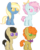 Size: 451x561 | Tagged: dead source, safe, artist:sararini, oc, oc only, adoptable, adopted, crack shipping, foal, magical lesbian spawn, offspring, parent:arpeggio, parent:carrot cake, parent:davenport, parent:derpy hooves, parent:doctor muffin top, parent:florina tart, parent:roxie, parent:trixie