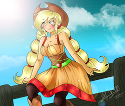 Size: 1180x996 | Tagged: applejack, artist:xxalymetalgirlxx, blushing, clothes, dress, fence, freckles, human, humanized, safe, shoulder freckles, solo, twintails