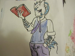 Size: 1024x768 | Tagged: safe, oc, oc only, anthro, anthro oc, book, looking at you, solo, trace, traditional art
