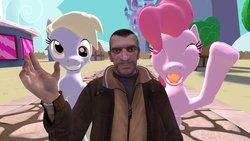 Size: 1192x670 | Tagged: safe, artist:zooweemama92, derpy hooves, pinkie pie, human, 3d, castle, clothes, grand theft auto, gta iv, hand, happy, jacket, niko bellic, ponyville, smiling, tree