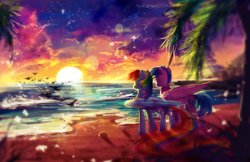 Size: 3000x1941 | Tagged: artist:aquagalaxy, backwards cutie mark, beach, bird, cloud, comic:dash academy, featured image, female, firefly, g1, g1 to g4, generation leap, mare, pegasus, pony, rainbow dash, safe, sand, scenery, scenery porn, smiling, sun, sunset, tree, water