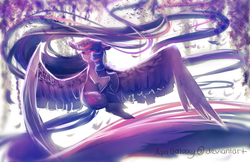 Size: 1600x1035 | Tagged: alicorn, artist:aquagalaxy, crying, female, large wings, long mane, long tail, mare, pony, red eyes, safe, solo, twilight sparkle, twilight sparkle (alicorn)