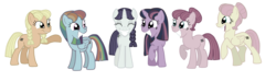 Size: 4400x1300 | Tagged: safe, artist:its-ok-to-smile, applejack, fluttershy, pinkie pie, rainbow dash, rarity, twilight sparkle, alicorn, earth pony, pegasus, pony, unicorn, the cutie map, alternate hairstyle, bad end, equalized, female, hair bun, mane six, mare, pigtails, simple background, the bad guy wins, this will end in communism, transparent background, twilight sparkle (alicorn), vector, xk-class end-of-the-world scenario