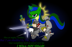 Size: 2912x1922   Tagged: safe, artist:northern wind, oc, oc only, oc:northern wind, pony, unicorn, armor, bolter, crossover, female, grey knights, gun, gunshots, iron halo, magic, mare, nemesis falchions, power armor, power sword, powered exoskeleton, purity seal, shield, solo, storm bolter, sword, telekinesis, vector, warhammer (game), warhammer 40k, weapon
