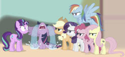 Size: 1215x555 | Tagged: safe, artist:dm29, applejack, fluttershy, pinkie pie, rainbow dash, rarity, starlight glimmer, twilight sparkle, alicorn, pony, season 5, the cutie map, angry, crying, dead mare walking, equal cutie mark, female, floppy ears, glare, mane six, mare, now you fucked up, ocular gushers, parody, scene parody, shut up twilight, this will end in pain, twilight sparkle (alicorn), you dun goofed