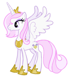 Size: 630x700 | Tagged: alicorn, alicornified, artist:colossalstinker, fleur-de-corne, fleur-de-lis, horseshoes, pony, princess, race swap, safe, smiling, solo, spread wings, tiara