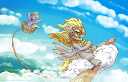 Size: 1250x800 | Tagged: artist:kp-shadowsquirrel, bucket, cheering, clothes, cloud, cloudy, cute, derpy hooves, dinky hooves, epic derpy, equestria's best mother, eyes closed, female, flying, goggles, grin, happy, mare, open mouth, pegasus, pony, safe, scarf, smirk, spread wings, twilight scepter, underhoof