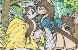 Size: 1024x662 | Tagged: safe, artist:ponygoddess, aragorn, arwen, clothes, dress, lord of the rings, ponified, sword