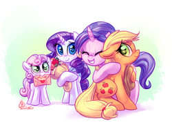 Size: 1700x1300 | Tagged: safe, artist:whitediamonds, applejack, cookie crumbles, rarity, sweetie belle, earth pony, pony, unicorn, bouquet, c:, cute, eyes closed, feels, female, filly, floppy ears, flower, grin, hat, heart, hug, lesbian, letter, mare, mother's day, mouth hold, rarijack, rarijack daily, shipping, smiling