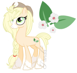 Size: 630x600 | Tagged: safe, artist:ipandacakes, oc, oc only, oc:honey blossom, earth pony, pony, blaze (coat marking), braid, cowboy hat, cutie mark, female, hat, long mane, mare, offspring, parent:applejack, parent:troubleshoes clyde, parents:troublejack, simple background, socks (coat marking), transparent background