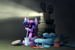 Size: 1748x1181   Tagged: safe, artist:underpable, rainbow dash, twilight sparkle, alicorn, pegasus, pony, 8), :), :t, curved horn, cute, dashabetes, dilated pupils, drinking, duo, eating, movie, popcorn, prone, puffy cheeks, smiling, twiabetes, twilight sparkle (alicorn), underpable is trying to murder us, upside down, watching, weapons-grade cute