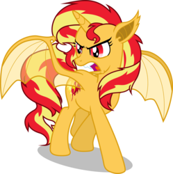 Size: 2990x3000 | Tagged: dead source, safe, artist:theshadowstone, sunset shimmer, alicorn, bat pony, bat pony alicorn, pony, alicornified, bat ponified, female, mare, race swap, shimmerbat, shimmercorn, simple background, solo, transparent background