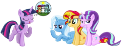 Size: 2444x969 | Tagged: safe, artist:majkashinoda626, starlight glimmer, sunset shimmer, trixie, twilight sparkle, alicorn, pony, angry, bored, counterparts, do not want, eyes closed, female, frown, glare, gritted teeth, lecture, magical quartet, mare, open mouth, prone, simple background, sitting, smiling, transparent background, twilight sparkle (alicorn), twilight's counterparts, varying degrees of want, vector, want