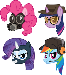Size: 444x504 | Tagged: artist:hfbn2, gas mask, parody, pinkie pie, pyro, rainbow dash, rarity, safe, scout, sniper, spy, team fortress 2, twilight sparkle