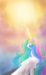 Size: 800x1300   Tagged: safe, artist:divlight, princess celestia, alicorn, pony, eyes closed, female, magic, solo, sun, sun work