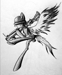 Size: 814x981 | Tagged: safe, artist:adetuddymax, derpy hooves, pegasus, pony, crossover, derpy soldier, female, mare, monochrome, parody, soldier, solo, team fortress 2, traditional art