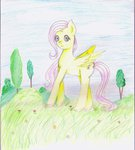 Size: 849x940 | Tagged: safe, artist:wrath-marionphauna, fluttershy, pegasus, beautiful, colored pencil drawing, everfree forest, female, flower, forest background, ponyville, solo, traditional art, tree