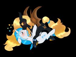 Size: 1024x768   Tagged: safe, artist:kaikururu, oc, oc only, oc:bubble lee, oc:gent lee, oc:regina liliac, bat pony, pony, unicorn, blushing, bracelet, female, heart, kissing, lying down, male, on back, rule 63, shipping, simple background, straight, transparent background