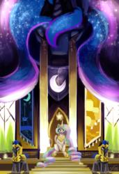 Size: 1368x2000 | Tagged: safe, artist:blindcoyote, princess celestia, princess luna, crying, royal guard, surreal