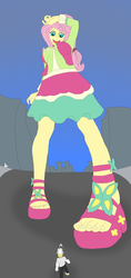 Size: 1821x3866 | Tagged: safe, artist:final7darkness, bulk biceps, fluttershy, equestria girls, friendship through the ages, rainbow rocks, 60s, city, clothes, feet, folk fluttershy, giantess, macro, open mouth, request, requested art, sandals, skirt