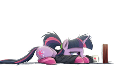 Size: 3000x1688 | Tagged: safe, artist:ncmares, twilight sparkle, alicorn, pony, ask majesty incarnate, book, calculus, clothes, coffee, fancy mathematics, female, integral, mare, math, mathematics in the comments, messy mane, mug, prone, socks, solo, striped socks, studying, sweater, twilight sparkle (alicorn)