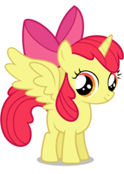 Size: 2000x2800 | Tagged: alicorn, alicornified, apple bloom, artist:tizerfiction, bloomicorn, cute, everyone is an alicorn, pony, race swap, safe, simple background, solo, transparent background, vector