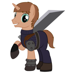 Size: 2000x2000   Tagged: safe, artist:peternators, artist:redmagepony, oc, oc only, oc:heroic armour, buster sword, clothes, cosplay, crossover, final fantasy, final fantasy vii, simple background, solo, sword, transparent background, uniform, weapon