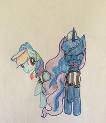 Size: 702x815 | Tagged: safe, artist:rainbowrules, princess luna, rainbow dash, baseball cap, blowing, blowing whistle, hat, puffy cheeks, rainbow dashs coaching whistle, referee, referee rainbow dash, sports, the fun has been doubled, traditional art, whistle, whistle necklace