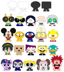 Size: 1489x1688 | Tagged: safe, artist:limeth, twilight sparkle, adventure time, avatar the last airbender, bubbles (powerpuff girls), chu, crossover, danbo, disney, famine, gaz membrane, grover, h.a.z.e.l, invader zim, jake the dog, mickey mouse, nerk, perry the platypus, phineas and ferb, pokémon, raven (teen titans), robot jones, rosa, sesame street, sonic the hedgehog, sonic the hedgehog (series), spongebob squarepants, super sonic, teen titans, the powerpuff girls, toph bei fong, wreck-it ralph