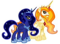 Size: 1280x943 | Tagged: age of the alicorns, alicorn, alicorn oc, artist:aleximusprime, ask accord, beard, crown, duo, ethereal mane, facial hair, female, hoof shoes, jewelry, male, mare, oc, oc:king solmidas, oc only, oc:queen chernalia, peytral, pony, regalia, safe, simple background, stallion, starry mane, transparent background