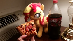 Size: 3264x1836 | Tagged: artist:onlyfactory, bootleg, brony, dr pepper, feeding, food, irl, meat, pepperoni, pepperoni pizza, photo, pizza, plushie, ponies eating meat, pony, safe, soda, sunset shimmer, waifu dinner