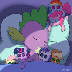 Size: 1000x1000 | Tagged: artist:empyu, baby, baby dragon, bed, blanket, button eyes, cute, dragon, female, implied applespike, implied flutterspike, implied pinkiespike, implied rainbowspike, implied shipping, implied sparity, implied straight, implied twispike, male, pillow, plushie, rarity plushie, safe, signature, sleeping, solo, sparilush, spikabetes, spike, spike gets all the plushies