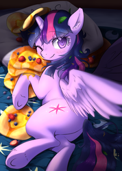 Size: 640x900 | Tagged: safe, artist:aymint, twilight sparkle, alicorn, pony, bed, blanket, blueberry, butter, cute, female, food, horn impalement, i'm pancake, leaf, looking at you, lying down, mare, messy mane, on side, pancakes, pillow, plot, smiling, solo, strawberry, syrup, twiabetes, twibutt, twilight sparkle (alicorn), underhoof, wink