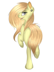 Size: 1200x1600 | Tagged: safe, artist:noodlerain, oc, oc only, oc:lucynda, ear piercing, looking back, open mouth, piercing, raised hoof, raised leg, simple background, smiling, solo, strategically covered, tail censor, transparent background, underhoof, walking