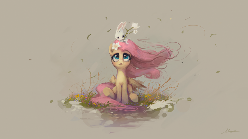 Size: 1920x1080 | Tagged: safe, artist:huussii, angel bunny, fluttershy, pegasus, pony, rabbit, angelbetes, animal, beautiful, cute, featured image, female, flower, flower in hair, full face view, looking at someone, looking up, male, mare, open mouth, shyabetes, simple background, sitting, sitting on head, that pony sure does love animals, wallpaper, wind, wind blowing, wind blown hair, windswept mane