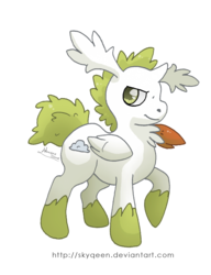 Size: 1152x1501 | Tagged: artist:mysweetqueen, crossover, pokémon, ponified, pony, ponymon, safe, shaymin, simple background, sky forme, solo, transparent background