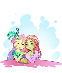 Size: 1012x1193 | Tagged: safe, artist:sweetsound, fluttershy, tree hugger, equestria girls, make new friends but keep discord, equestria girls-ified, female, flutterhugger, lesbian, pixiv, shipping