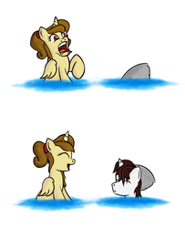 Size: 1300x1600 | Tagged: safe, artist:yooyfull, oc, oc only, oc:katya ironstead, oc:miles, alicorn, pony, alicorn oc, duo, funny, funny face, joke, laughing, oc x oc, prank, scared, shark?, surprised, swimming, this isn't even my final form, water, wet, wet mane