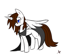 Size: 969x824 | Tagged: safe, artist:great9star, oc, oc only, oc:miles, alicorn, pony, alicorn oc, blank stare, blue eyes, brown hair, bruised, cloak, clothes, colored sketch, injured, male, sad, sketch, solo, stallion