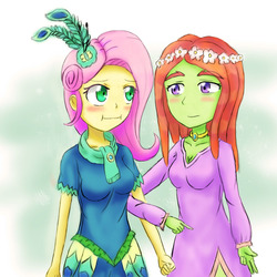 Size: 1000x1000 | Tagged: safe, artist:jumboz95, fluttershy, tree hugger, equestria girls, make new friends but keep discord, :i, breasts, busty fluttershy, busty tree hugger, cleavage, equestria girls-ified, female, flutterhugger, humanized, lesbian, shipping, we bought two cakes