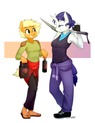 Size: 1152x1500 | Tagged: safe, artist:siden, applejack, rarity, oc, oc:ivory, oc:sparkling cider, anthro, plantigrade anthro, alternate universe, armpits, feet, female, lesbian, rarijack, sandals, shipping, toes, ultimare universe