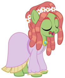 Size: 2231x2700 | Tagged: safe, artist:pixelkitties, tree hugger, make new friends but keep discord, clothes, dress, female, gala dress, hippie horse noises, open mouth, simple background, solo, transparent background, vector, wavy mouth