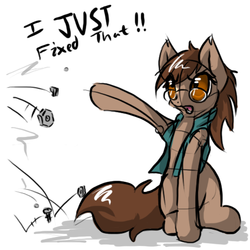 Size: 500x500   Tagged: safe, artist:sapphfyr, oc, oc only, oc:jackie trade, bolts, clothes, female, glasses, nuts, open mouth, raised hoof, solo, vest