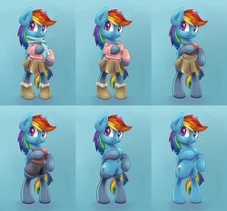 Size: 2250x2100 | Tagged: safe, artist:lovelyneckbeard, rainbow dash, backwards cutie mark, boots, clothes, gloves, rainbow dash always dresses in style, scarf, shorts, skirt, socks, solo, stockings, sweater