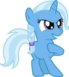 Size: 1745x1945 | Tagged: safe, artist:dtkraus, trixie, pony, unicorn, braid, female, filly, grin, mare, pose, simple background, transparent background, vector, younger
