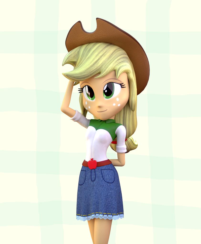 85d45a4712162 #887165 - 3d, 3d model, applejack, artist:3d thread, artist:creatorofpony,  blender, clothes, cowboy hat, cowgirl, denim, denim skirt, equestria girls,  hat, ...