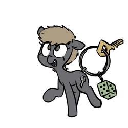 Size: 600x600 | Tagged: safe, artist:whydomenhavenipples, oc, oc only, oc:kelly, keychain pony, object pony, original species, dice, key, keychain, ponified, raised hoof, simple background, solo, white background