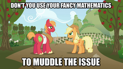 Size: 1280x720 | Tagged: safe, edit, edited screencap, screencap, applejack, big macintosh, earth pony, pony, applebuck season, angry, brother and sister, cowboy hat, dialogue, fancy mathematics, female, hat, image macro, male, mare, meme, pointing, siblings, stallion, sweet apple acres, text