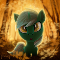 Size: 3500x3500 | Tagged: artist:shaadorian, chibi, forest, looking at you, lyra heartstrings, pony, safe, solo, unicorn
